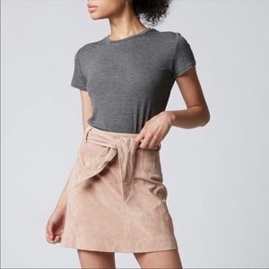 blanknyc blush candy crush suede tie mini skirt